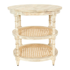 Round Mango Wood Table With 2 Cane Shelves Tan
