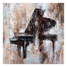 """""""Black Piano"""" Hand Painted Canvas Art, 40""""x40"""""""