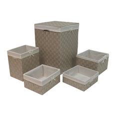 5-Piece Hamper and Basket Set, Beige