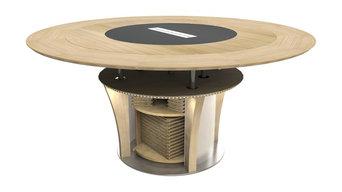 Table ronde extensible en diamètre et télescopique
