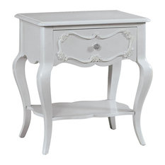 Rose Scalloped Apron Nightstand Gray