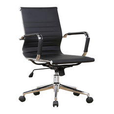 Belleze - Mid-Back Ribbed Upholstered Leather Swivel Chair With Arm, Black - Office Chairs