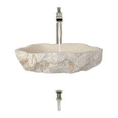 Galaga Beige Marble Sink, Brushed Nickel, Vessel Faucet