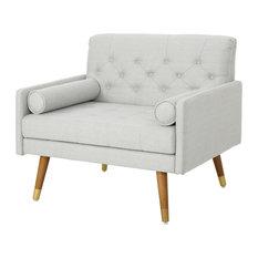 GDF Studio Nour Fabric Mid-Century Modern Club Chair, Light Gray/Dark Walnut