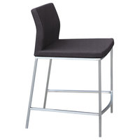 Pasha Chrome Low Back Stools, Stainless Steel Base, Gray Leatherette