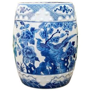Super Oriental Blue And White Porcelain Umbrella Stand Bird Motif Frankydiablos Diy Chair Ideas Frankydiabloscom