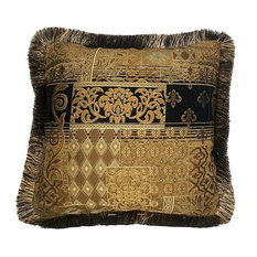 "Black Gold Embroidered Fringe Pillow, 14""x19"""