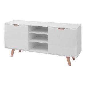 vidaXL MDF High Gloss Sideboard, White, 150x40x73 cm