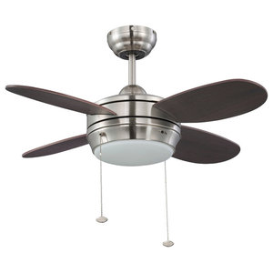 27 Quot Solstice Led Ceiling Fan Satin Nickel Transitional