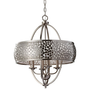 Elegant 4-Light Chandelier, Silver