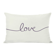 """Love"" Indoor Throw Pillow by OneBellaCasa, Ivory/Purple, 14""x20"""