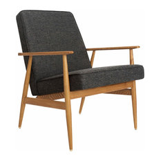 Fox Wool Lounge Chair, Grey Black