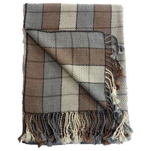 100% Baby Alpaca Throw Blanket, Our Framed Windowpane Throw / Afghan