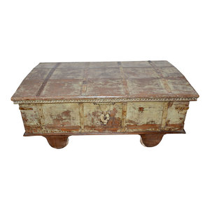 Mogul Interior - Consigned Antique Chest Sideboard Reclaimed Distressed Patina Trunk - Decorative Trunks