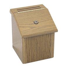 Safco Wood Suggestion Box, Medium Oak