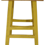 Tall Yellow Stool - This tall yellow stool with a natural wood seat can fit in with almost any decor. Antiques by Zaar, purveyor of fine Chinese Antiques, furniture, and accessories (as well as reproductions), has enjoyed selling product online since 1999. Please enjoy the pieces we are now offering through the Houzz Marketplace. We look forward to adding you to our community of happy customers.