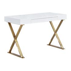 BModern Computer Desk, High Gloss, Gold