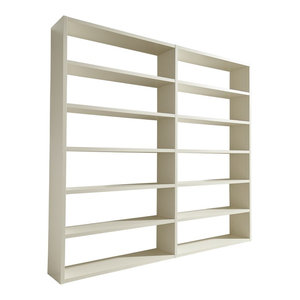 Torero Wide Double Bookcase, White