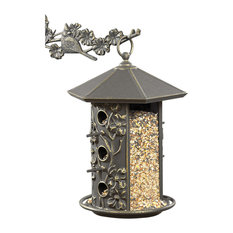 "10 5/8""x9 1/4""x15 1/8"" Dogwood Bird Feeder, Oil Rub Bronze"