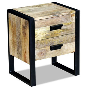 vidaXL Solid Mango Wood Side Table With 2-Drawer, 43x33x51 cm