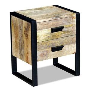 vidaXL Solid Mango Wood Side Table With 2-Drawer, 43x33x51 cm