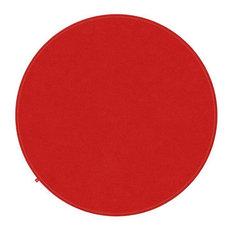Emilia Vibrant Red Rug, Neon Yellow Stitching, 150 cm