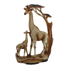 Giraffe Family Carved Wood Look Resin Statue