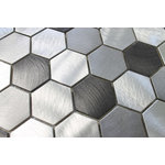 """Rocky Point Tile Co - Uptown Brushed Aluminum Hexagon Mosaic Tile, Chip Size: 2"""", 12""""x12"""" Sheet - Looking for a tile that makes a big statement? Introducing Uptown in our 2 inch hexagon mosaic tile. A balanced blend of light and dark that includes silvery brushed aluminum and dark grey. Each tile is roughly 2 inches in size with a polished circular brush finish."""