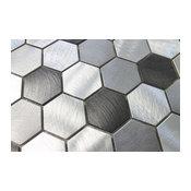 "Uptown Brushed Aluminum Hexagon Mosaic Tile, Chip Size: 2"", 12""x12"" Sheet"