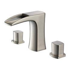 Fresca Fortore Widespread Mount Bathroom Vanity Faucet, Brushed Nickel