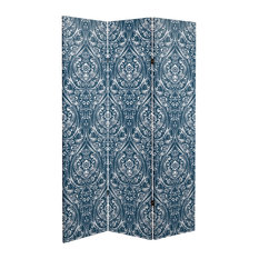 6' Tall Double Sided Ocean Damask Canvas Room Divider