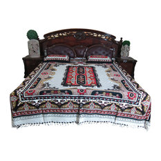 Mogul Interior - Tapestry Bedding Galicha Indi Cotton Bedspread with 2 Pillow Covers - Sheet and Pillowcase Sets