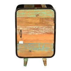 Sierra Living Concepts - Retro Rainbow Reclaimed Wood and Iron Nightstand End Table Cabinet - Nightstands and Bedside Tables