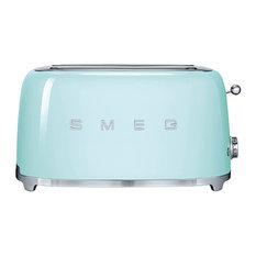 Smeg 50's Style 4-Slice Wide Slot Defrost/Reheat Toaster, Pastel Green