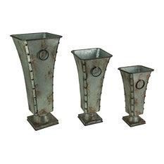 Set of 3 Rustic Galvanized Metal Finish Flared Vases
