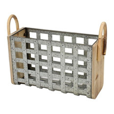 Sagebrook Home Tin & Wood Woven Basket, Gray