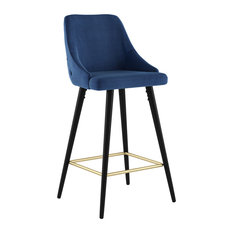 Set Of 2 Velvet And Metal 26'' Counter Stool Yellow