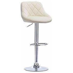 Modern Bar Stool, Faux Leather Upholstery, 360 Degrees Swivel Design, Cream