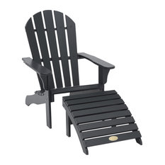 Tennessee Deck Chair and Ottoman, Black Pine, 2-Piece Set