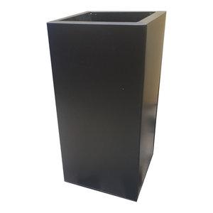 Black Galvanised Square Tower Zinc Planter, 30x30x60 cm