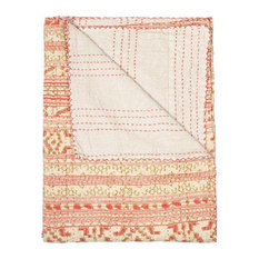 "50"" x 70"" Hues Of White And Red Kantha Cotton Throw"
