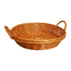 22 Round Willow Basket, Honey Stain
