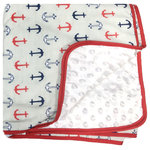 Pam Grace Creations - Nautical Baby Blanket - This nautical themed baby blanket has soft chenille dots on one side with a nautical print on the opposite.   Great for swaddling, cuddling, keeping baby warm or and a Blankie!