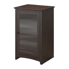 Bowery Hill Audio Cabinet Bookcase In Madison Cherry