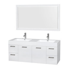 "Amare 60"" Glossy White Double Vanity, 58"" Mirror, Acrylic Resin, Integrated"