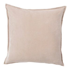 Cotton Velvet Pillow, Taupe, Poly Fill, 18""