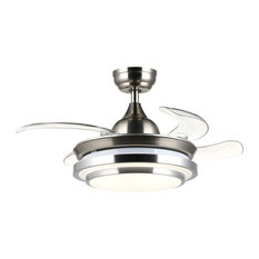 """Rhodes Folding Blades Ceiling Fan With Light and Remote Control, 36"""""""