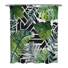 """Oliver Gal OliverGal """"Introspect Palm Leaves Black"""" Shower Curtain, 71""""x74"""""""