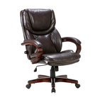 Executive Office Chair, Adjustable Lumbar Support, Swivel, Wood Armrest, Brown