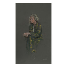 """Harry McCormick """"Untitled 7 Blonde in Yellow Robe"""" Pastel Drawing"""